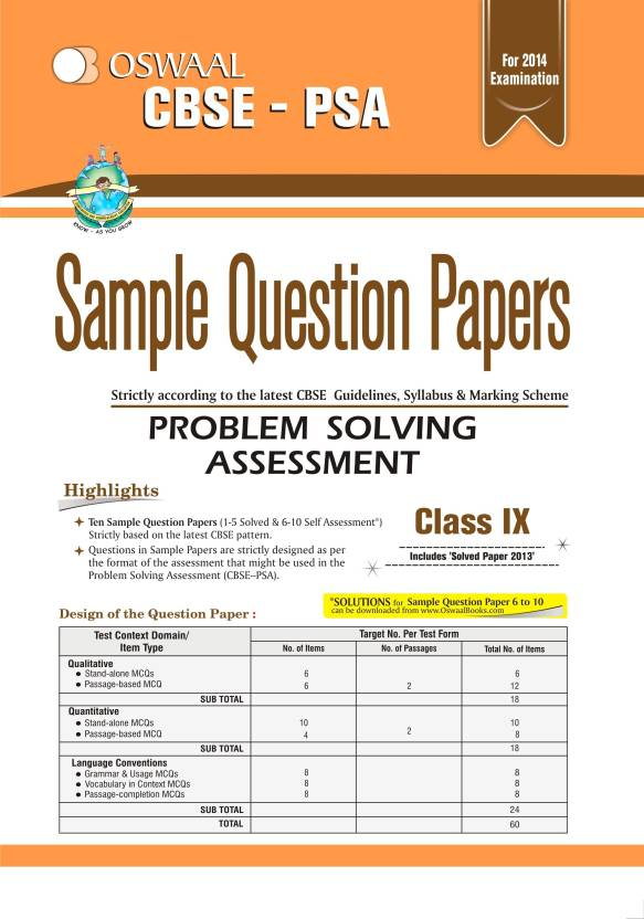 Golden sample papers psa: problem solving assessment class 9.