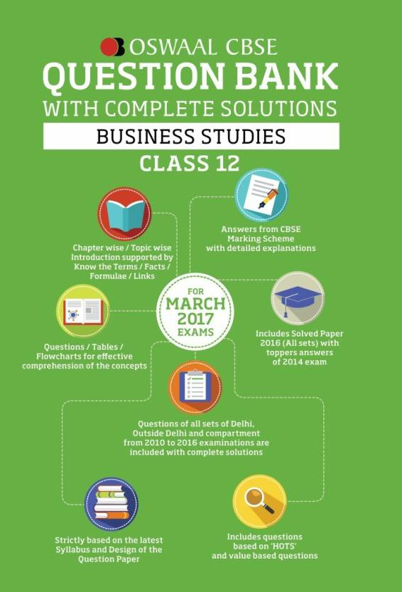 Oswaal CBSE Question Bank with complete solutions for Class 12 Busines  Studies (For 2017 Exams)