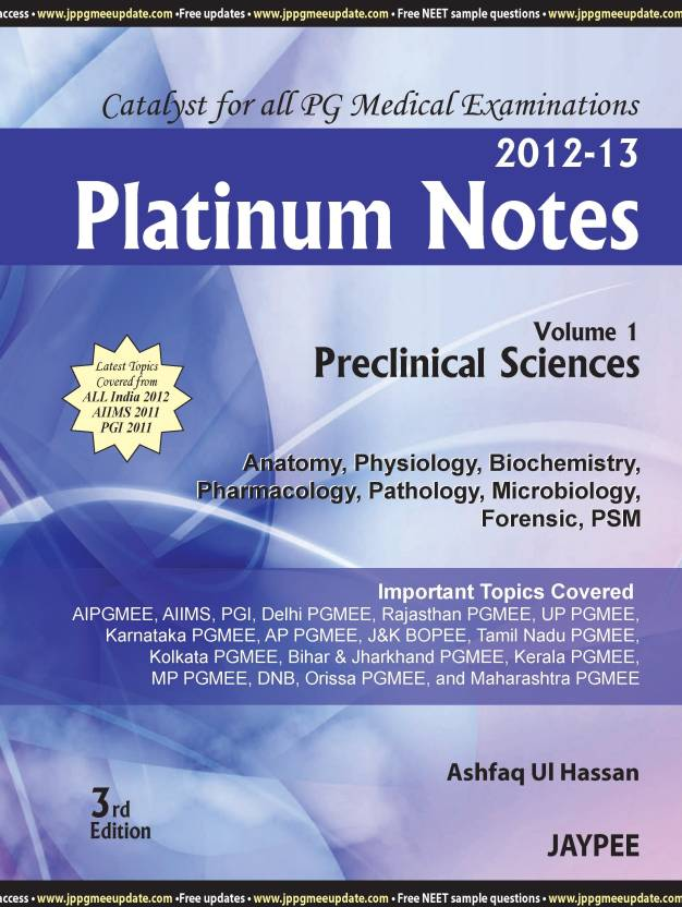 Platinum Notes: Preclinical Sciences 2012 - 13 (Volume - 1) 3rd Edition