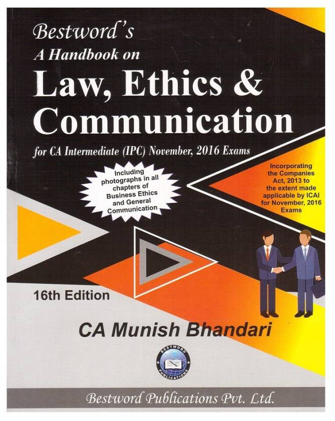 Handbook on Law, Ethics & Communication For CA IPC Nov. 2016 Exam