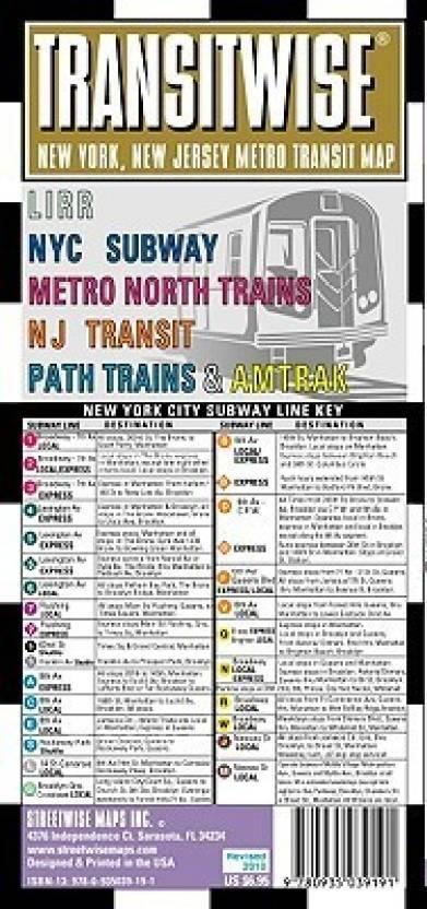 Streetwise Transitwise Map - Laminated New York Metropolitan