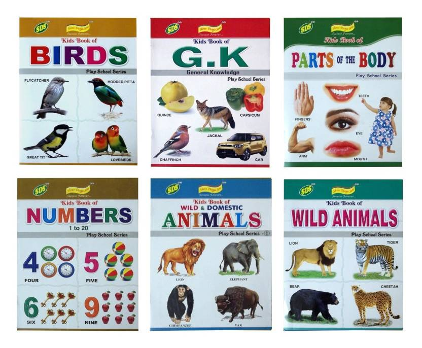 Set of Six Playschool Books - Birds, Wild Animals, Domestic