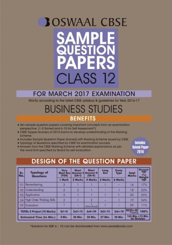Cbse sample papers for class 12 business studies 2017-18.