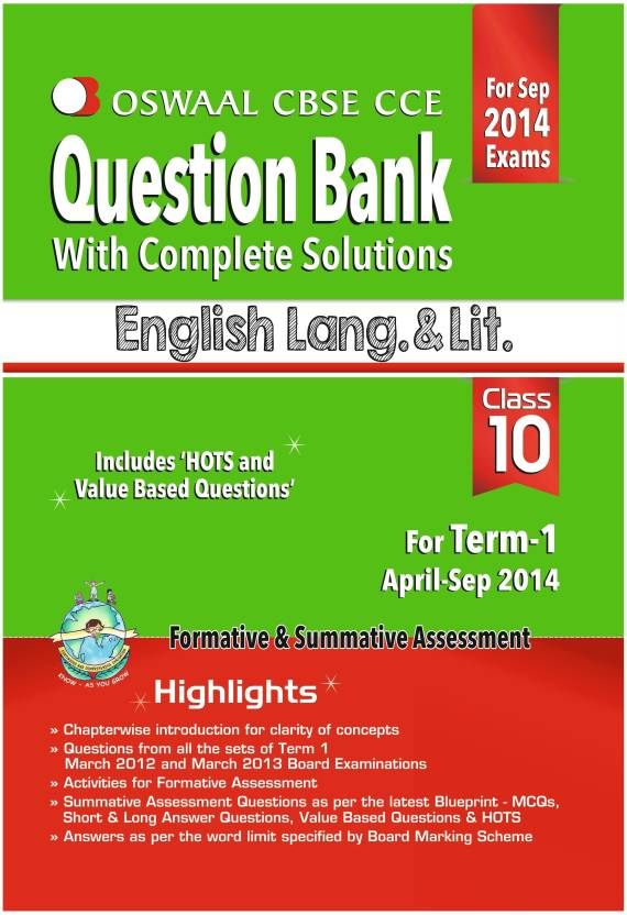 Oswaal CBSE CCE Question Bank with Complete Solutions English