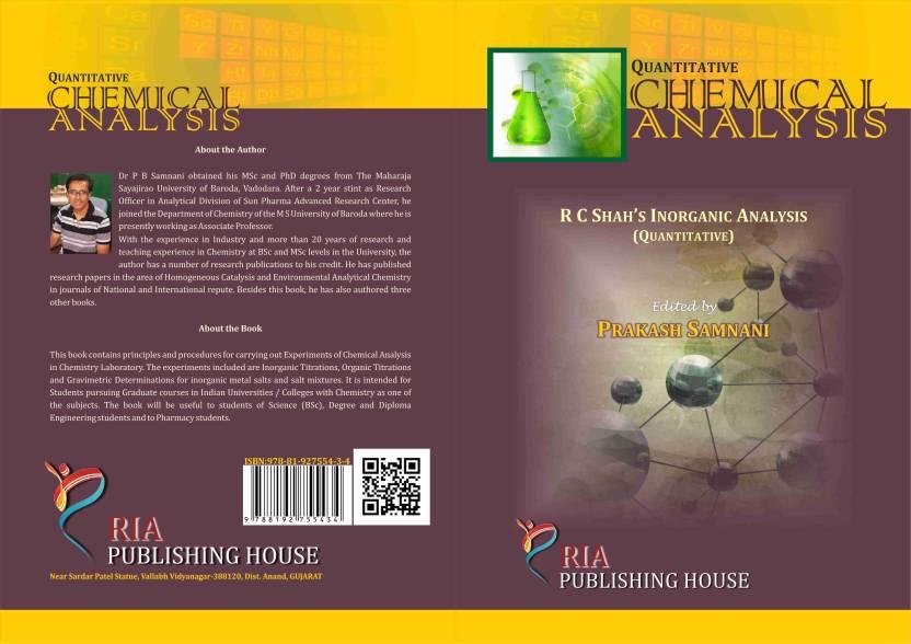 Quantitative Chemical Analysis R C ShahS Inorganic Analysis  Buy
