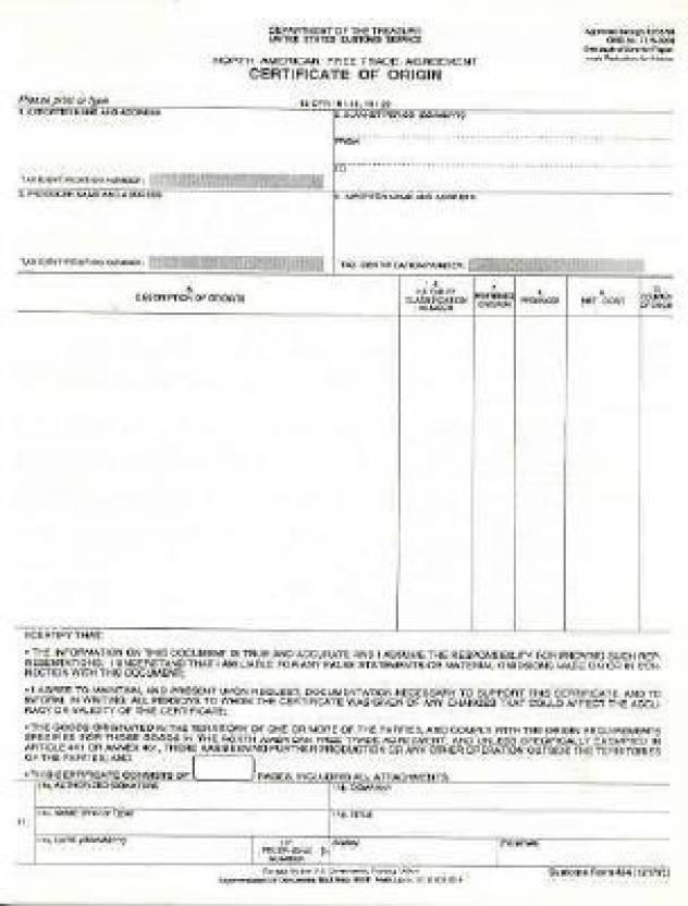 North American Free Trade Agreement Certificate Of Origin Customs