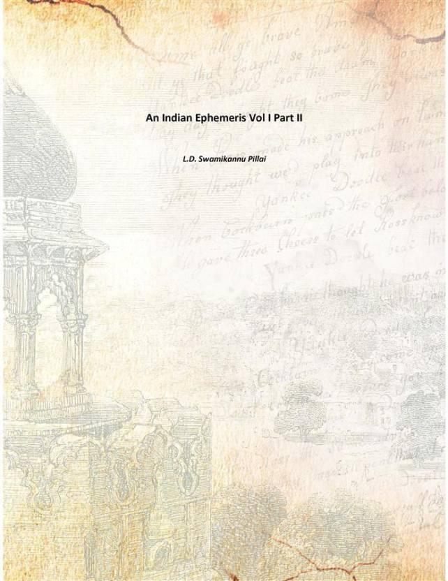 An Indian Ephemeris Vol I Part II - Buy An Indian Ephemeris