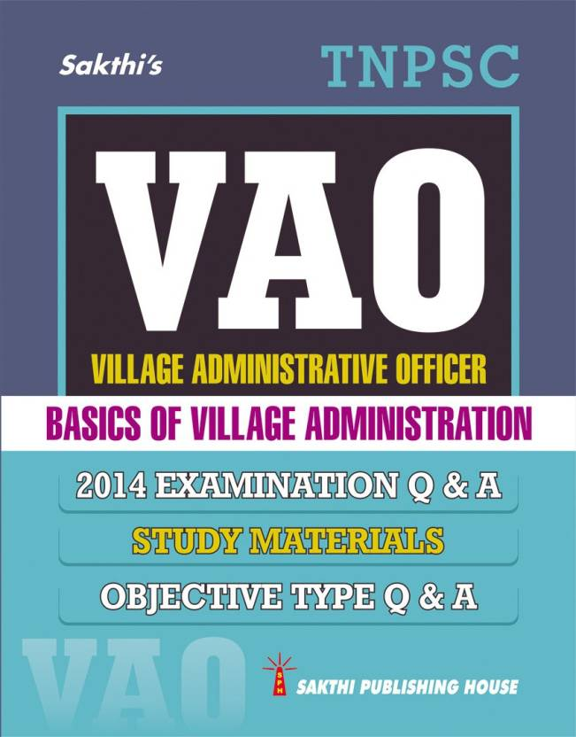 Tnpsc Village Administrative Officer (Vao) Exam Book Study Material And Objective Type Q & A In English