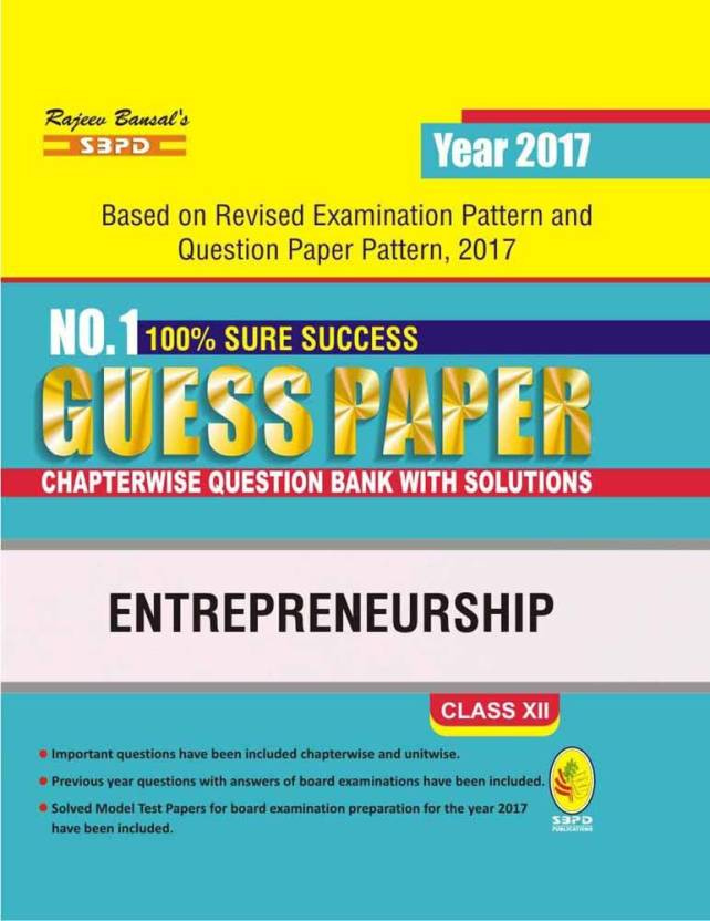 Entrepreneurship Guess Paper Chapterwise Question Bank With