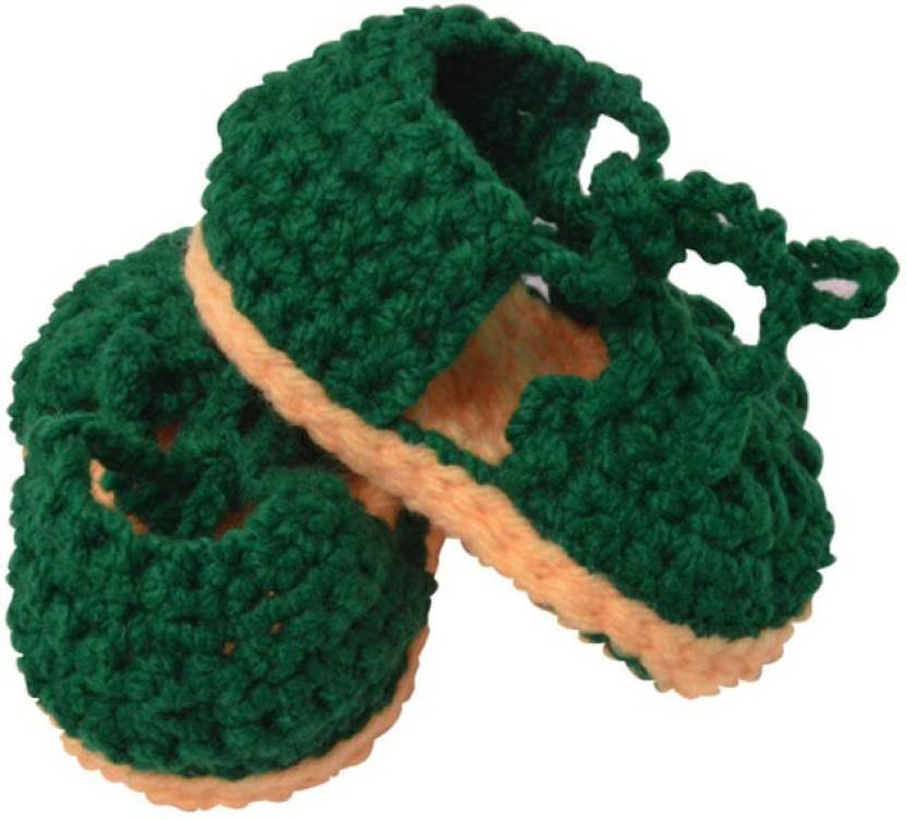 82d5646a7d75 Graykart Green   Yelow Knitted wool shoes   Baby booties   Pre ...