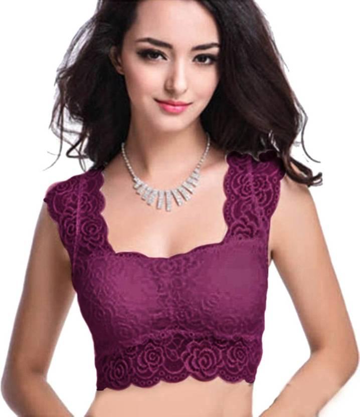 b602054dac5fa Florentyne by Tempting Lace Blouse Women s Sports Lightly Padded Bra  (Purple)