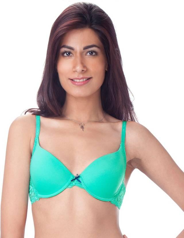 ba71949a7 PrettySecrets Women s Plunge Lightly Padded Bra - Buy Green ...