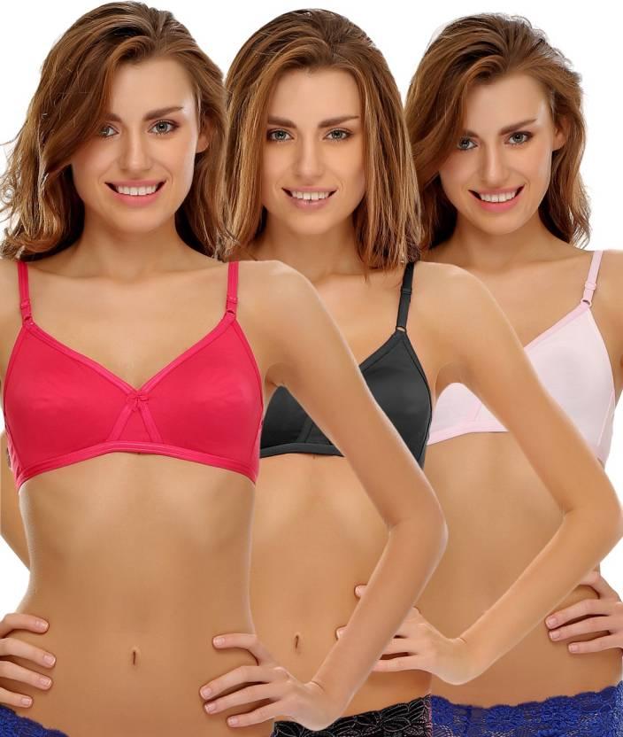 e132b5a7dc7c7 Clovia Clovia Pack Of 3 Non Padded Wirefree Bra In Cotton Women s T-Shirt  Non
