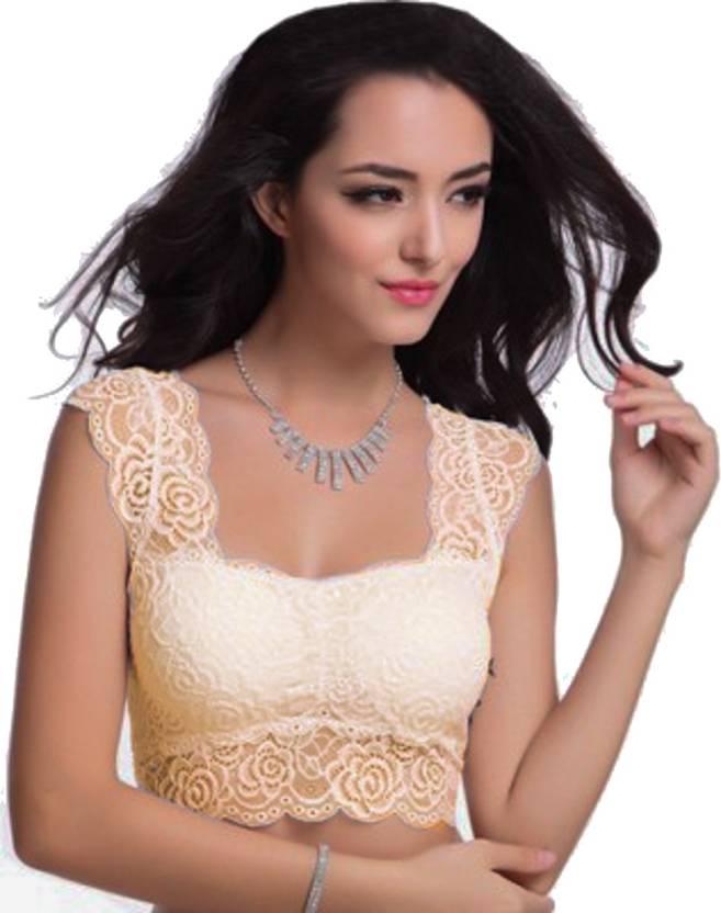 811f9434eaab59 Florentyne by Tempting Lace Blouse Women Bralette Lightly Padded Bra (Beige)
