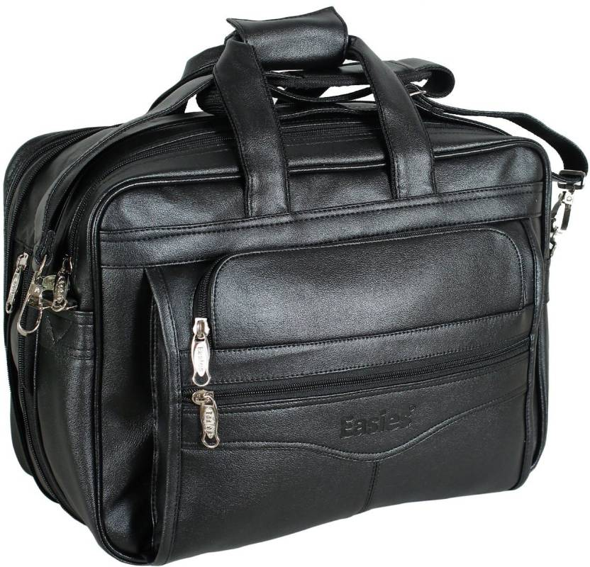 Easies Synthetic Leather Full Expandable 16 Inches Executive Black Color Office Bag Large Briefcase For
