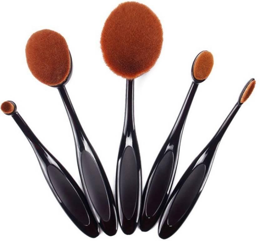 c59101c896f1 Foolzy Set of 5 Oval Makeup Brushes Set