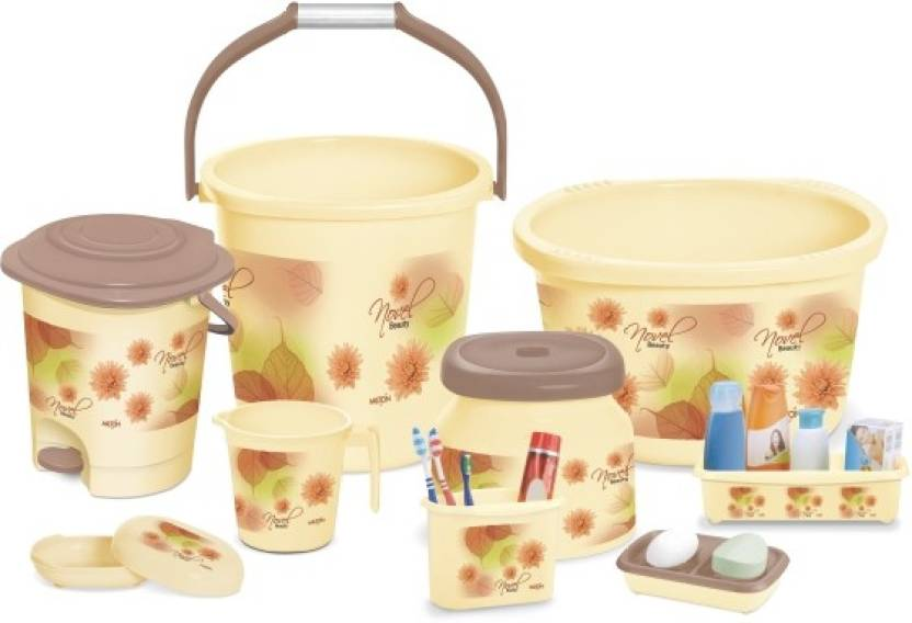 Peacock Milton Homeshop52 Com 9 Pcs Bathroom Set 20 L Plastic Bucket