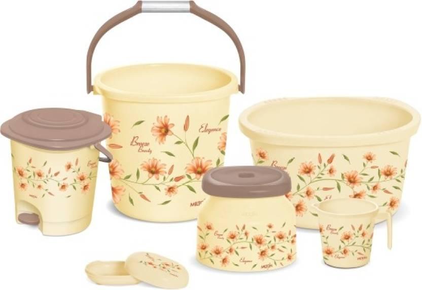 Milton Home52 Elegance 6 Pcs Bathroom Set 20 L Plastic Bucket