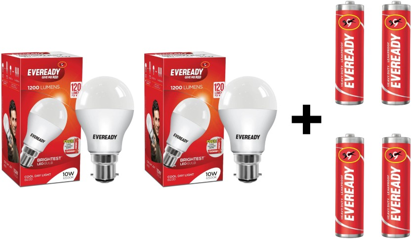 Eveready 10W LED Bulb Pack of 2 + Free 4 Batteries