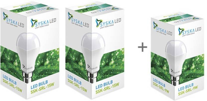 Syska 15W LED Pack Of 2 + One 9W bulb at Rs. 449 By Flipkart | Syska Led Light 15W  (White, Pack of 2) @ Rs.449