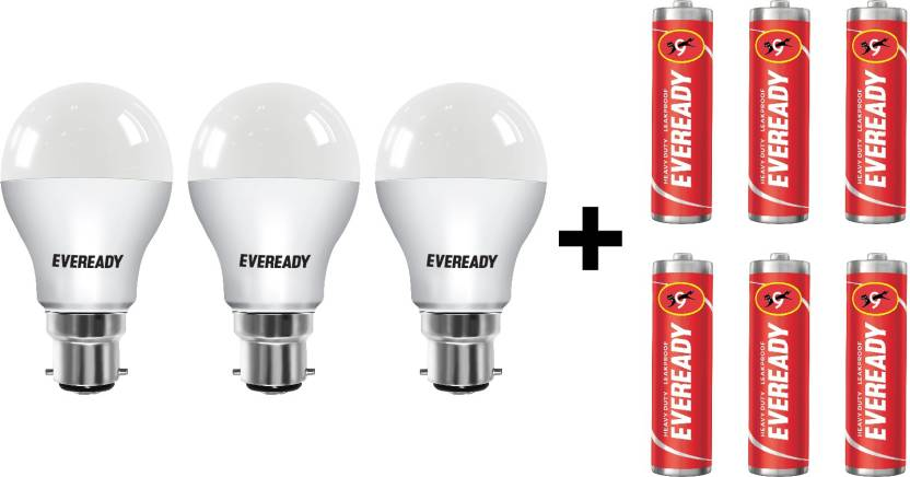 Minimum 30% off On LED Bulbs By Flipkart | Eveready 9W LED Bulb Pack of 3 with Free 6 Batteries  (White, Pack of 3) @ Rs.409