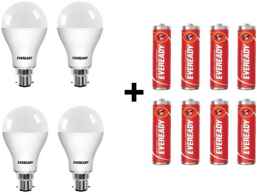 Eveready 12W LED Bulb Pack of 4 with Free 8 Batteries
