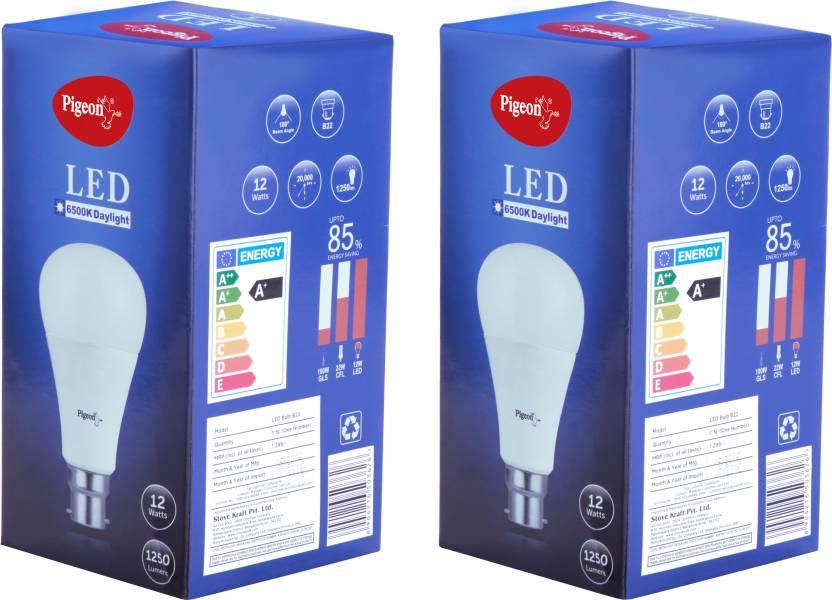 Pigeon 12 W Standard B22 LED Bulb White Pack Of 2