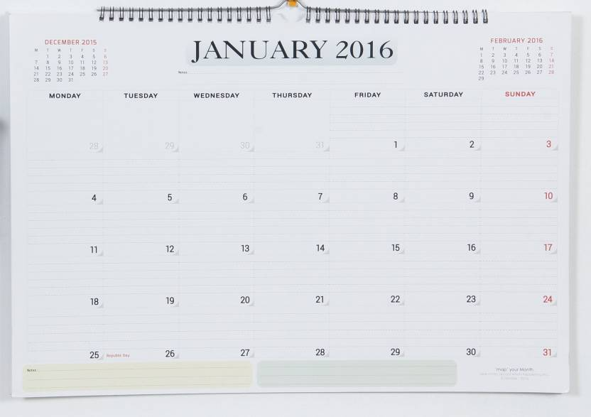 mapyourmonth wall diary planner calendar with sticky wall hooks 2016