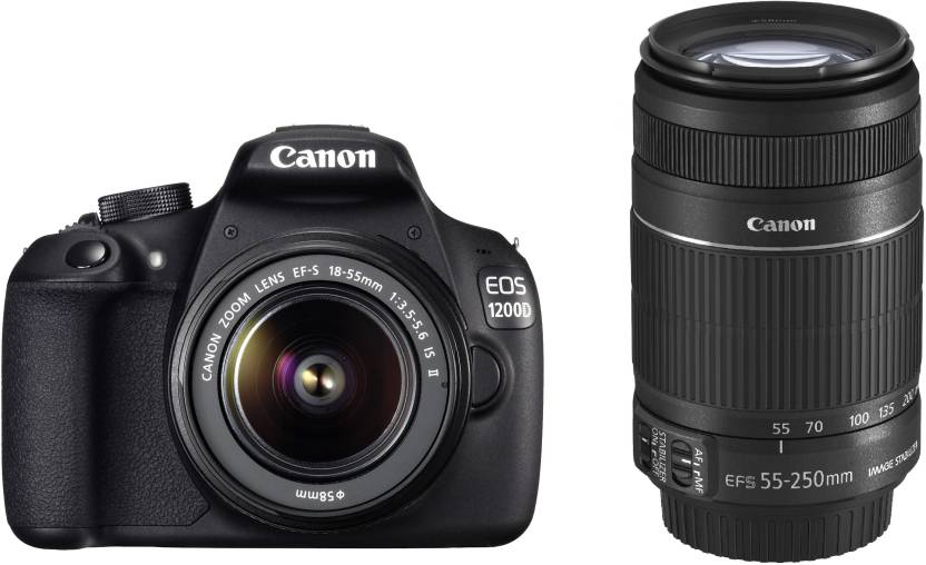 Upto 30% Off On Camera & Accessories By Flipkart | Canon EOS 1200D DSLR Camera (Body with 8 GB Card & Bag EF S18-55 IS II+55-250mm IS II)  (Black) @ Rs.26,999