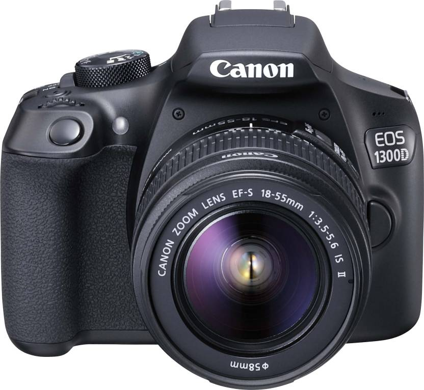 Canon EOS 1300D DSLR Camera Body with Single Lens: EF-S 18-55 IS II (16 GB SD Card + Camera Bag)