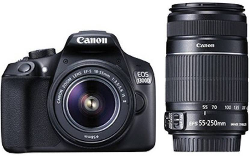 Canon EOS 1300D DSLR Camera (Body with EF-S 18 - 55 mm IS II + EF-S 55 - 250 mm F4 5.6 IS II)