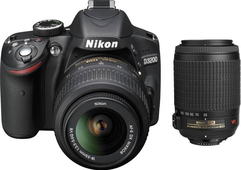 Nikon D3200 with (AF-S 18-55 mm VRII + AF-S 55-200 mm VR Kit) DSLR Camera