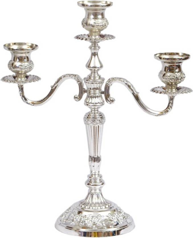 dgm 3 head silver candle stand steel candle holder price in india