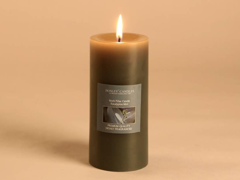 Hosley Eucalyptus Mint 6 Inch Pillar Candle