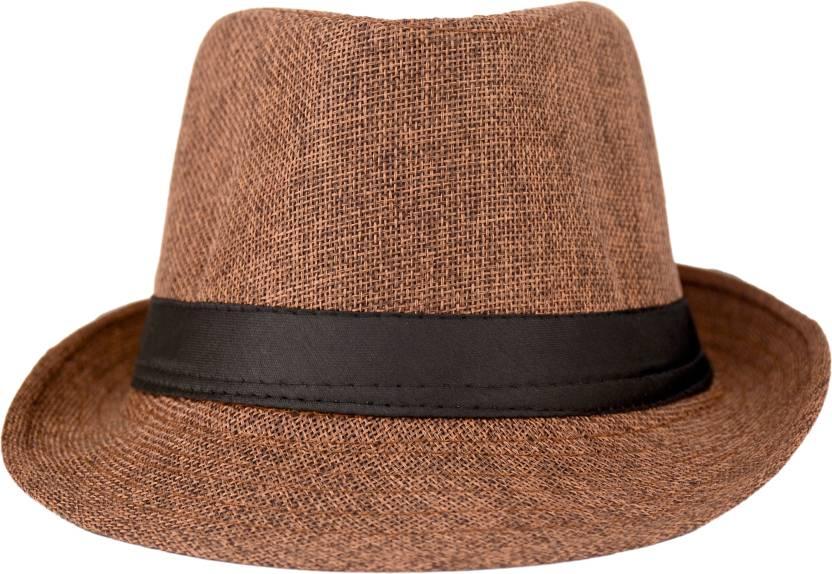 Florence9 Solid Fedora Cap - Buy Dark Brown Florence9 Solid Fedora Cap  Online at Best Prices in India  d3eaef1ed3c