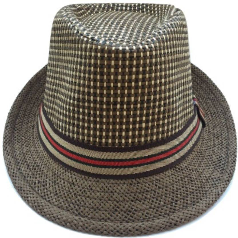 f305946e3df Tiny Seed Checkered Solid Self Design Fidora Hat Cap - Buy Dark Brown Tiny  Seed Checkered Solid Self Design Fidora Hat Cap Online at Best Prices in  India ...