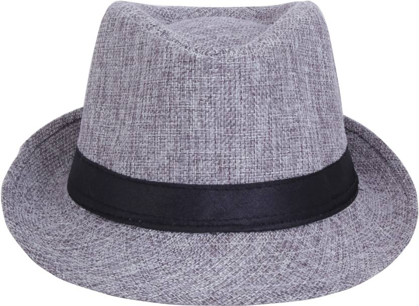 815167279db FabSeasons Hat Self Design Fedora Cap - Buy Grey FabSeasons Hat Self Design  Fedora Cap Online at Best Prices in India
