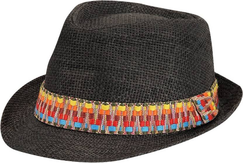 f424c78fdeb FabSeasons Self Design Fedora Hat Cap - Buy Black FabSeasons Self Design Fedora  Hat Cap Online at Best Prices in India