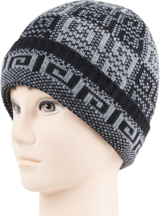0dba5ec280682 Bonjour Self Design Skull Cap - Buy Black Bonjour Self Design Skull Cap  Online at Best Prices in India