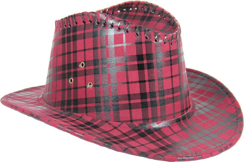 FabSeasons Checkered Cowboy Hat Cap - Buy Maroon FabSeasons Checkered Cowboy  Hat Cap Online at Best Prices in India  609eb9e4a38
