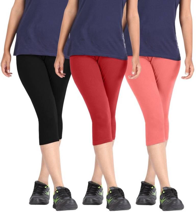 56551f0aba2cde Rooliums Super Fine Cotton Capri Leggings Women's Multicolor Capri ...