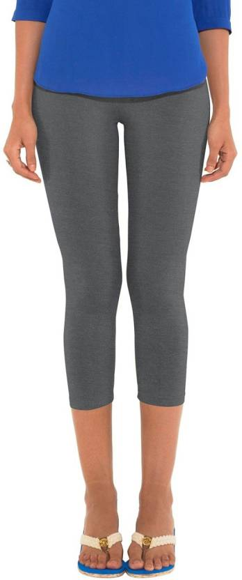 ffac021c985445 Go Colors Ladies 3/4 Leggings Women's Grey Capri - Buy Antra Melange ...