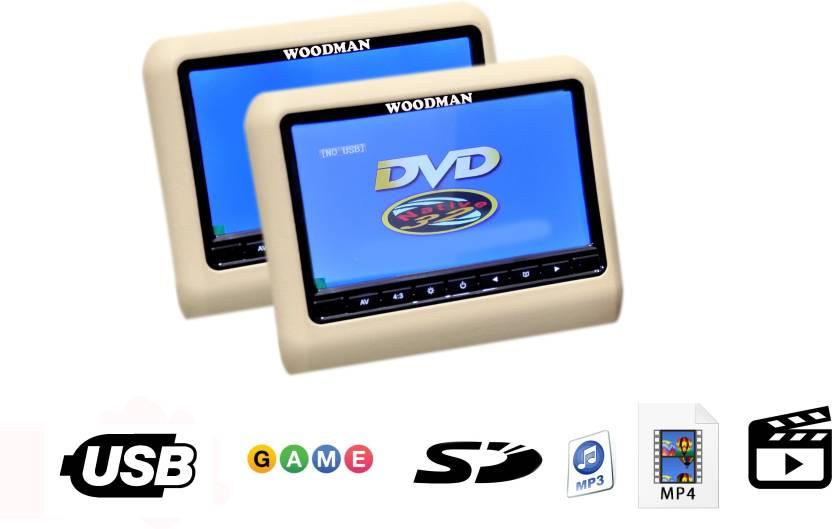 Woodman Luxury WMLXHRBG Headrest Monitor With USB DVD Player - Car show headrest monitors