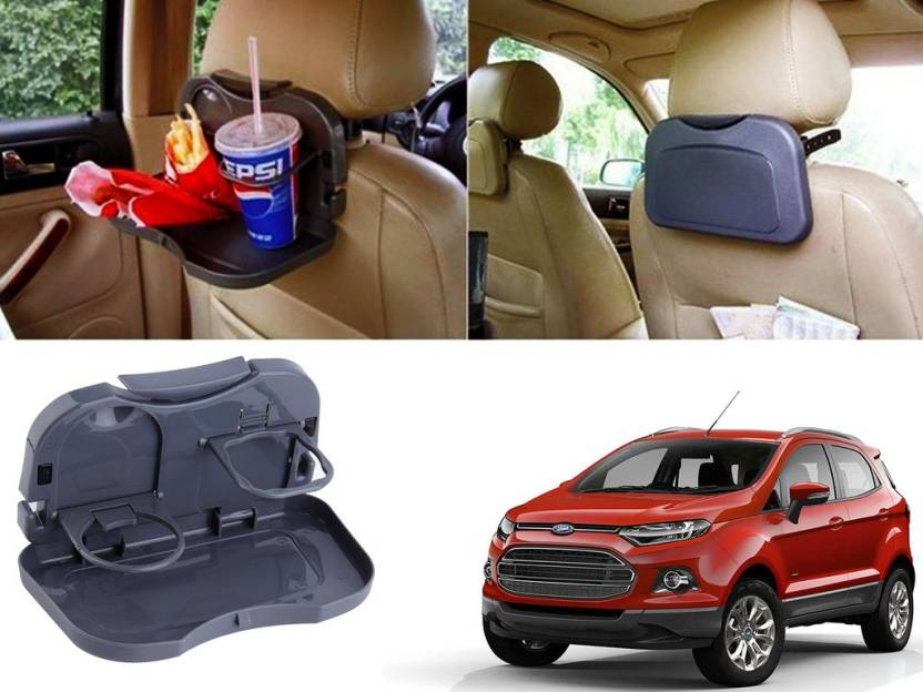Auto Pearl Premium Quality Grey Colour Car Travel Food Drink Holder Dining For Ford