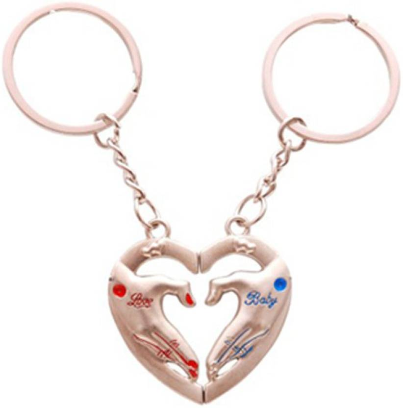 CTW Love You Baby Heart In Hand Couple Keyring Metal Key Chain - Buy ... a365e082142d