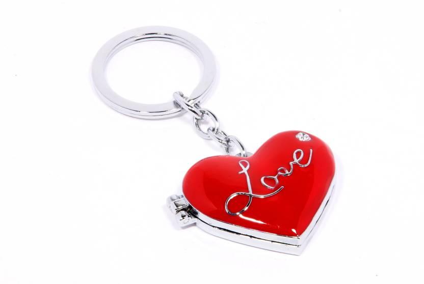 Veevi Red Heart Love Mirror Photo Frame Key Chain - Buy