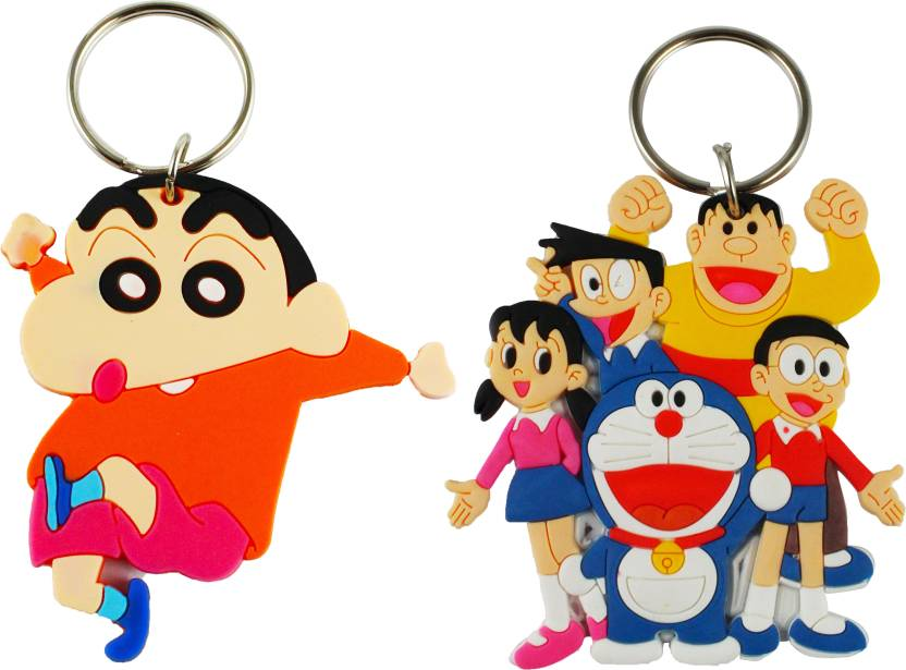 eshoppee doraemon family and shin chan double sided imported rubber