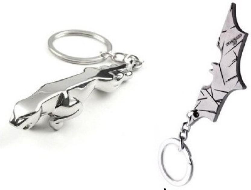 Superior Confident 2 Silver Color Jaguar Car Logo And Batman Metal Key Chain