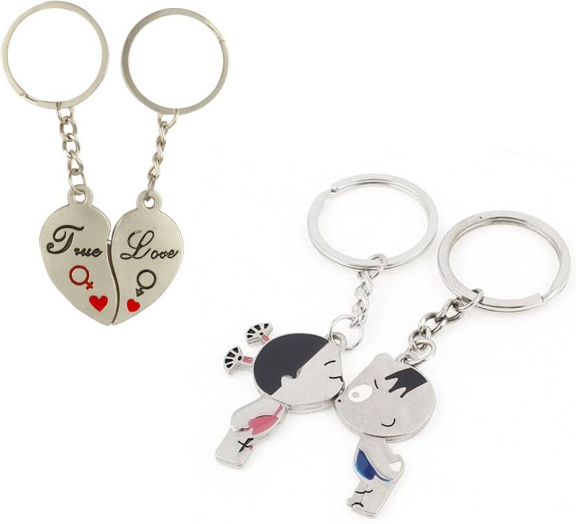 a3a63a9207 CTW True Love You Heart & Kissing Couple Metal Valentine Gift Key Chain  (Silver)