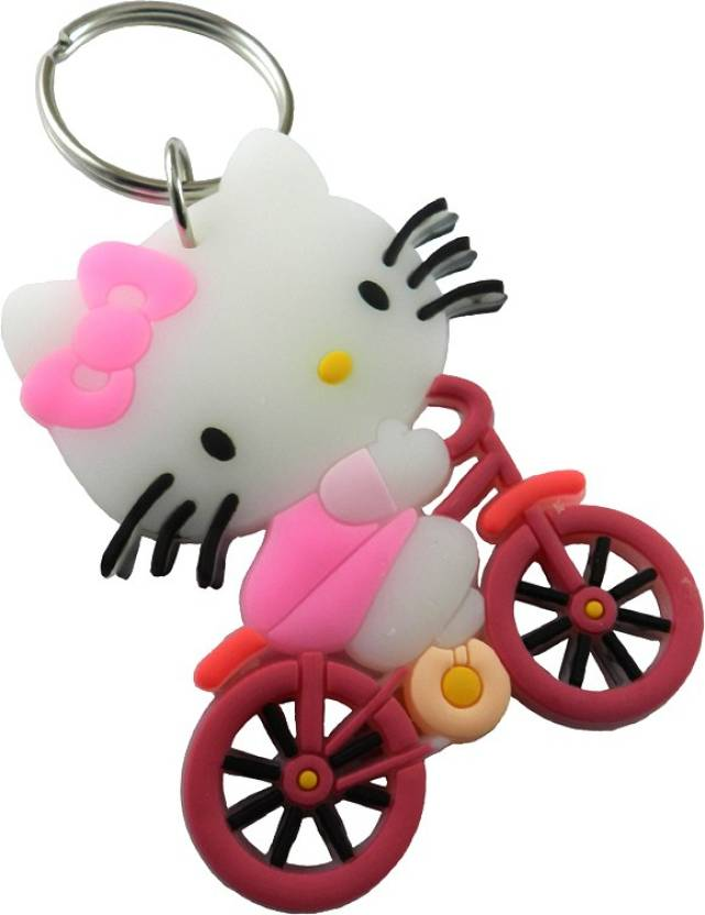 7167be308 Techpro Doublesided Rubber Hello Kitty Riding Cycle Key Chain (Multicolor)